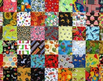 "54 I SPY  5"" Quilt Fabric Squares Pre-Cuts Charms blocks kit"