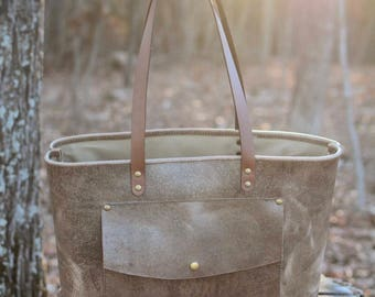 Shell Shock Brown Pull-Up Leather Tote
