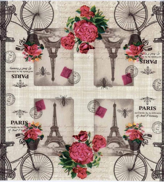 4 decoupage napkins paris bicycle with flowers eiffel tower paris napkins travel napkins. Black Bedroom Furniture Sets. Home Design Ideas