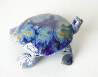 Sea turtle,ceramic, cobalt blue crystalline glazed with poem