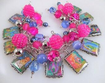 Colorful Funky Dog Charm Bracelet Cha Cha Bracelet Altered Art Charm Bracelet Picture Charm Bracelet