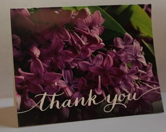"""Vibrant Purple Floral Thank You Card 4.25"""" x 5.5"""""""