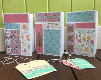 Greeting Card & Gift Tag Set, Set of Cards, Female Greeting Cards, Female Gift Idea, Pretty Cards, Washi Tape Gift Tags, Greeting Card Sale