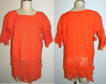 1970s 70s Hippie shirt / ORANGE Peasant Tunic / Top / cotton / Festival / Bohemian / Boho / Vintage