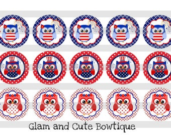 """Patriotic Owls Independence Day INSTANT DOWNLOAD Bottle Cap Images 4x6 sheet 1"""" circles"""
