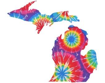 Michigan Tie Dye Vinyl Decal Sticker A04