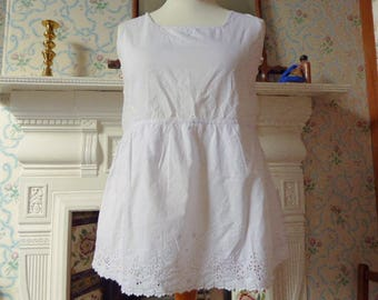 Antique Edwardian white cotton top blouse tunic broderie anglais