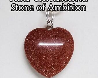 Red, Goldstone, Heart, Pendant, Gemstone, Crystal, Necklace