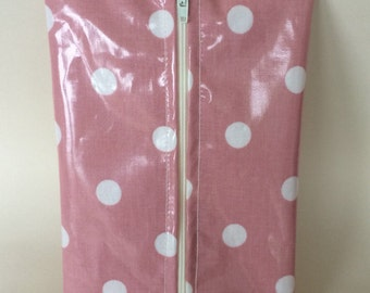 Baby wipes holder,wet wipes case,wipes case,pink and white spotty oilcloth