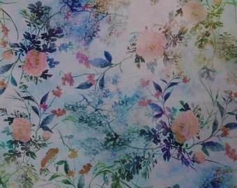 Perse thick fabric with flowers