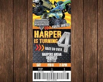 Monster Truck Birthday Ticket Invitation PRINTED