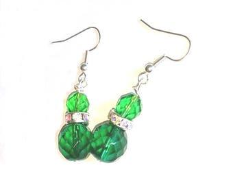 Green Diamante Earrings