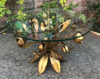 Stunning Gilded Golden Tole Italian Mid Century Hollywood Regency Floral Coco Chanel Accent Table