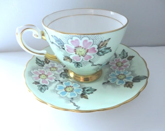Tuscan 1940's coffee cup and saucer, Green floral cup, Tuscan china