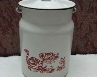 Soviet  vintage farmhouse white enamel pot with red tiger kids ornament and lid - Home decor - Made in USSR