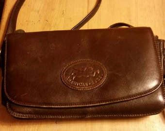 Vintage dark brown American Angel leather satchel, messenger, shoulder bag, boho purse.