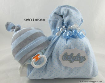 Stork bundle baby | Boy diaper cake | Stork bundle | Baby shower gift | Unique baby gift | Baby sprinkle gift | Baby diaper cake