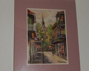 "1996 New Orleans French Quarter 5"" x 7"" Print Knut ""Ken"" Engelhardt German Artist Painter"