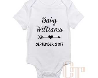 Pregnancy Announcement Custom Name Coming Soon Onesie Due Date Baby Girl Boy Infant Outfit Newborn Gift  Bodysuit Pregnant Personalized