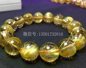 Genuine Golden Rutilated Quartz Bracelet, 12MM, AAA Large Rutilated Quartz Beaded Bracelets Beads Jewelry Gemstones