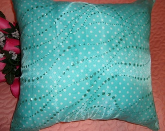 Pretty Princess Pillow with White and Aqua Waterfall Glitter Embellishments Great Gift