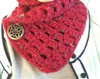 Cozy Crochet Scarf in Red with Multicolor Flecks Bronze Button