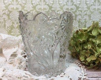 Vintage Cut Glass Vase/Floral Design/Scalloped Top/Clear Glass