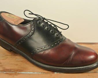 Florsheim Burgundy/Black Plain Toe Saddle Balmoral Size: 10.5D