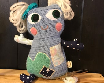 """Monster Plush - Merry Monsters - """"Lulla"""" - Stuffie -  Handmade from Upcycled Materials"""