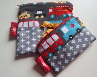 Reusable sandwich bag and snack bag set! - zippered -City fabric set of 2 - eco friendly - Lined with Rip Stop Nylon-Ready to Ship!