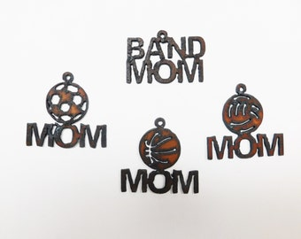 Basketball mom (3) band mom vollyball mom soccer mom  charms made out of rusted metal pick any three