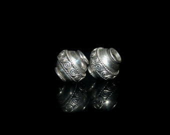 Two 12mm Sterling Silver Barrel Beads, Two Sterling Silver Wire Work Bali Beads, Two Large Hole Sterling Silver Beads