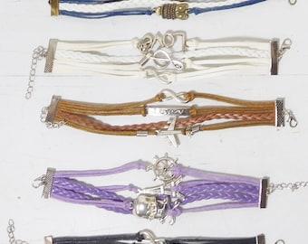 "Multi Layer Leather Cuff Bracelets Adj White Black Brown Purple Blue Hippie Boho Bohemian Friendship 7 1/2"" to 8 1/2"" SALE 4.99 ea"