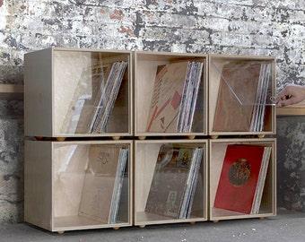 Stackable Storage Cube - Clear- Vinyl LP Record Storage