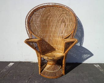 Peacock Chair Fan Fabulous Bohemian Boho Chic Regency  Rattan Armchair Chippendale Chinoiserie Bamboo Miami Mid Century Bentwood Wicker