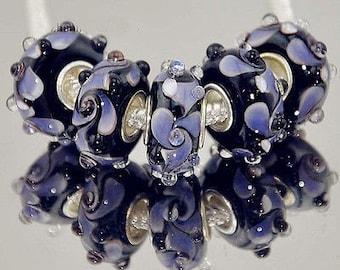 Purple Black Lampwork Murano Glass Bead .925 Silver Core Fits All European Charm Bracelet Snake Chain Bracelet BettyGiftStore