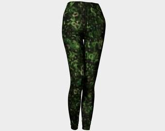 Green Leggings/Green Sequence Dance Leggings/Green Confetti Fashion Leggings/