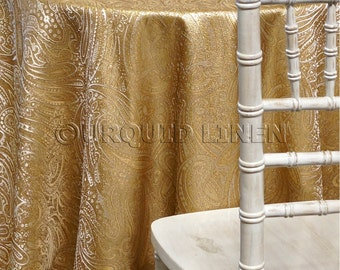 Paisley Jacquard in Ivory Gold - Ideal for Events, Parties & Home Decor