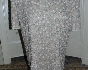 """Vintage Beaded Tan Top, Bust 38"""",  Papell Boutique Evening, Heavily Beaded"""