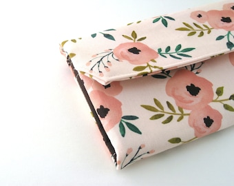 Womens Wallet | Bifold wallet | Fabric Wallet- Reispeices | SPRING Pink Floral