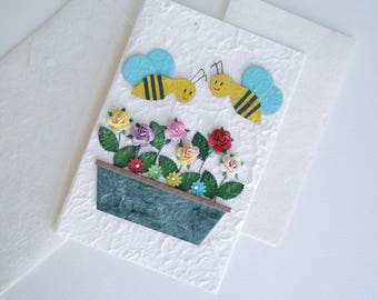 Greeting Card, collage bees with rose paper flowers, green leaves with natural envelop, handmade