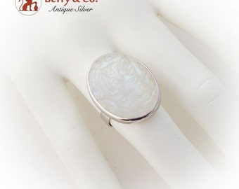 Carved Moonstone Oval Ring Sterling Silver