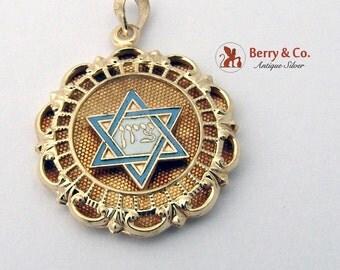 Judaica Pendant Star Of David 14 K Gold Enamel