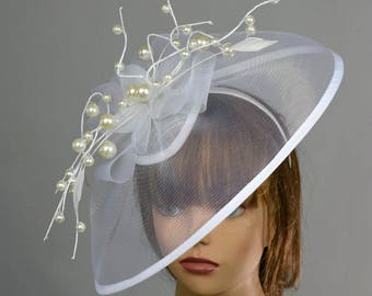 White Headband Hat Kentucky Derby Hat Party Headband Party Hat Women Hat