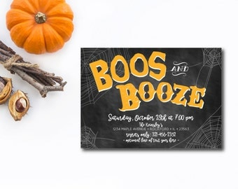INSTANT DOWNLOAD Halloween party invitation / boos and booze invite / adult halloween party / chalkboard invitation