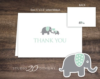 Instant Download Mint Elephant Thank You Card, Folded Elephant Baby Shower Thank You Card, Folded Mint Green Grey Elephant Birthday Card 22H