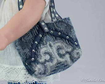 PURSE Bag Satchel in Navy BLUE Pattern with SILVER Nailhead Trim for American Girl or 18 Inch Doll