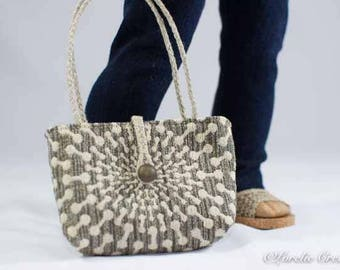 PURSE Bag Satchel in Taupe Gray Beige Sunburst Pattern for American Girl or 18 Inch Doll