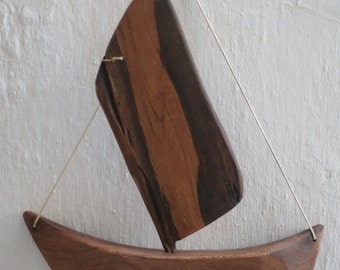 Unique Wooden Sailing Boat, Plane Tree and Olive Wood. Handmade by Chaos Woodcraft Parga, Special Gift for All Ocassions. Sail Away!!