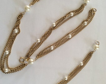 Vintage EMMONS Gold and Pearl Necklace With Matching Bracelet